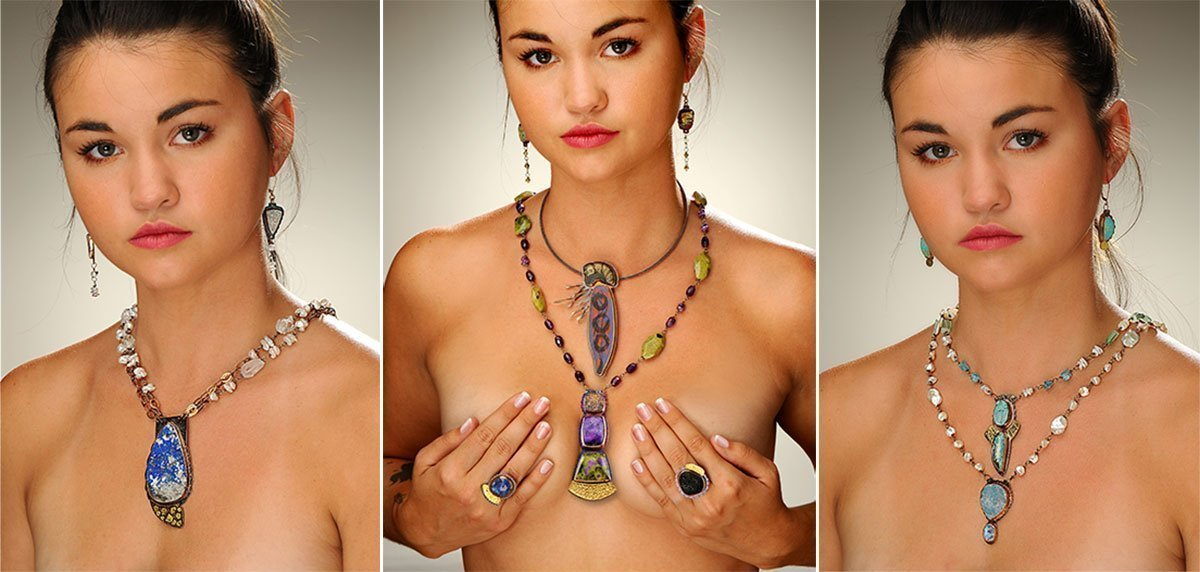 Pretty young woman wearing Julie Shaw jewelry