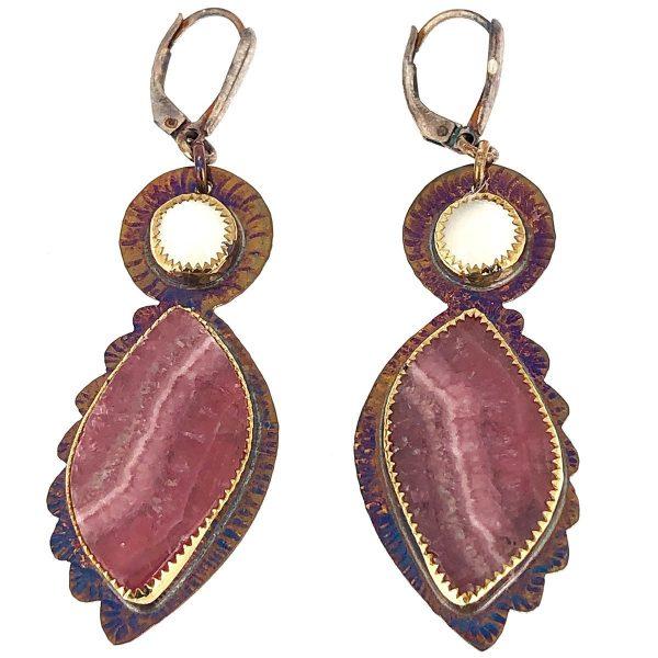Sterling silver, moonstone and rhodochrosite earrings
