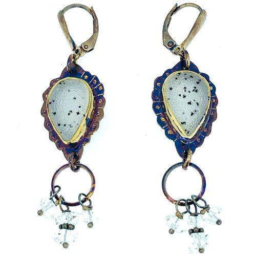Sterling silver, druzy quartz, herkimer diamond crystal earrings