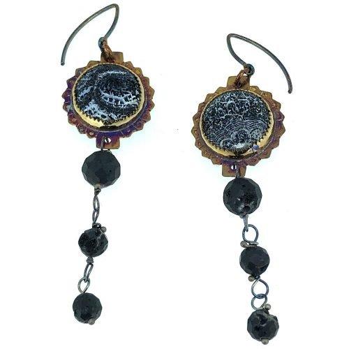 Sterling silver, acid etched black onyx, black druzy beads earrings