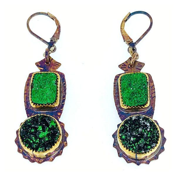 Sterling silver, uvarovite and dioptase earrings