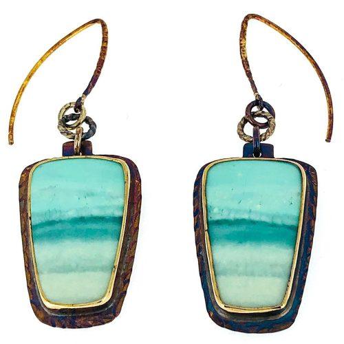 Sterling silver, blue opal displaced petrified wood earrings