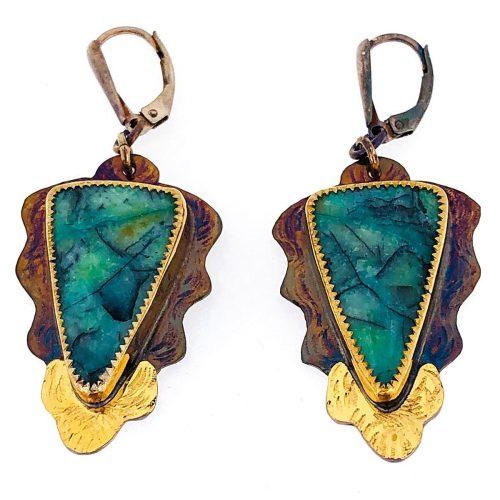 Sterling silver, 22k gold, blue opal displaced petrified wood earrings