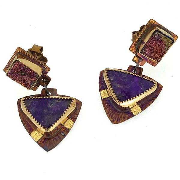 Sterling silver, 22k gold, pyrite druzy and sugilite earrings