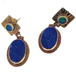 Sterling silver, opal and lapis lazuli earrings