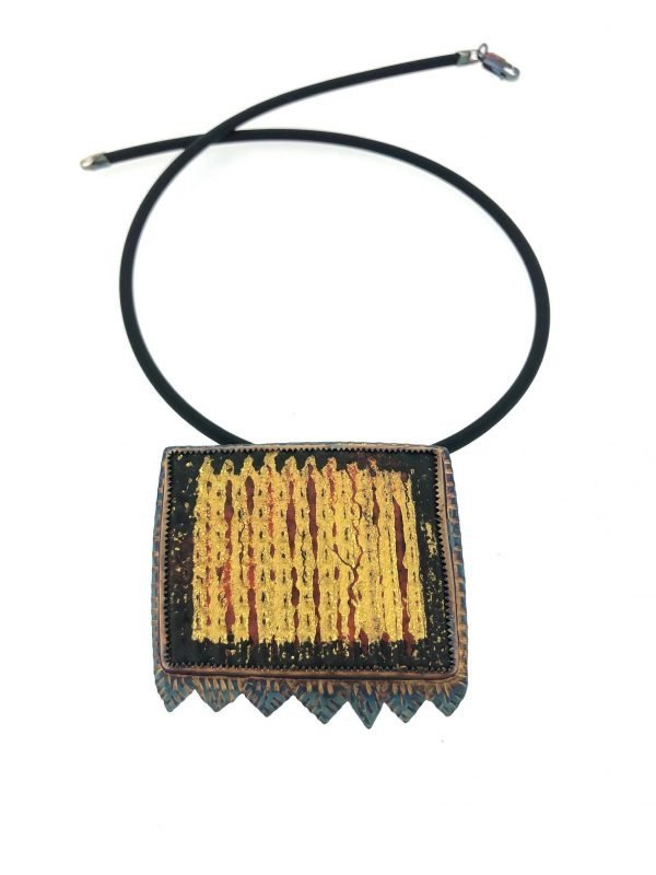 Enamel Brooch with Rubber Necklace