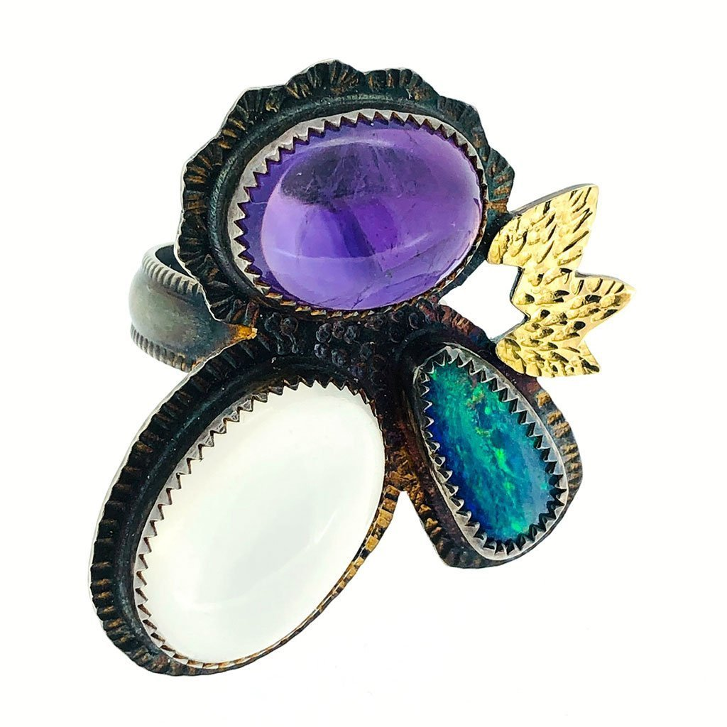Opal, Amethyst, Moonstone Ring