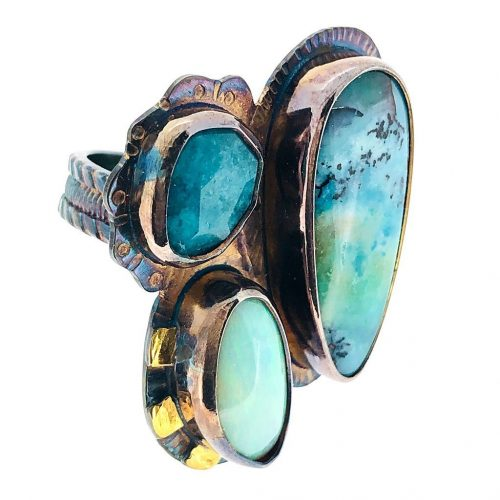 Opal, Blue Opal and Amazonite Ring