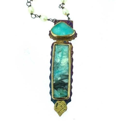 Blue Opal Petrified Wood Necklace