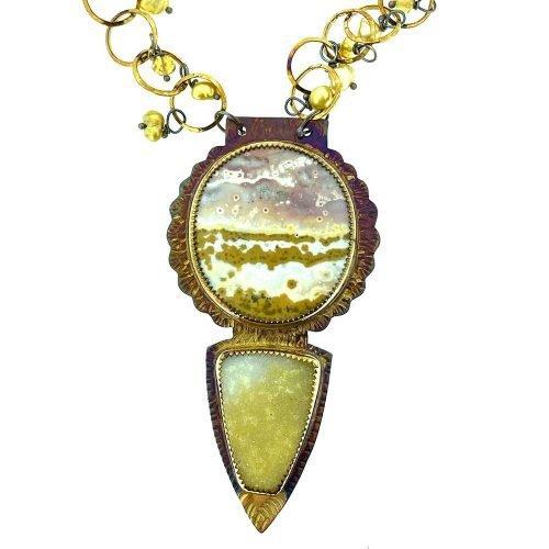 Orbicular Jasper and Natural Quartz Druzy Necklace