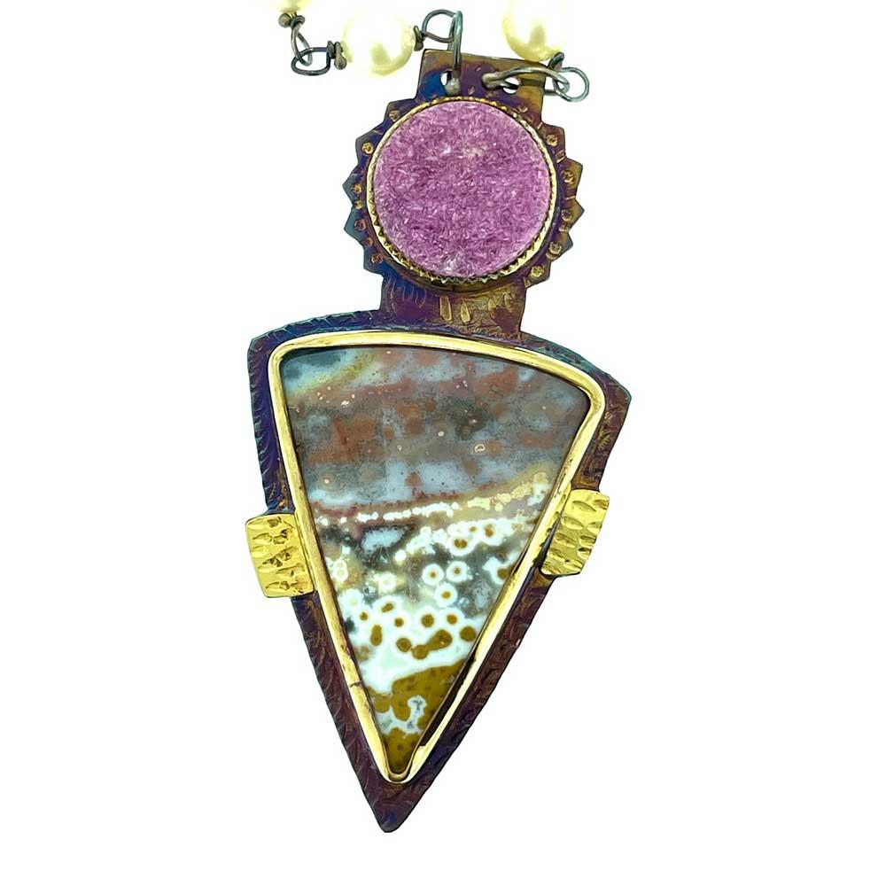 Cobalto Calcite and Orbicular Jasper Necklace