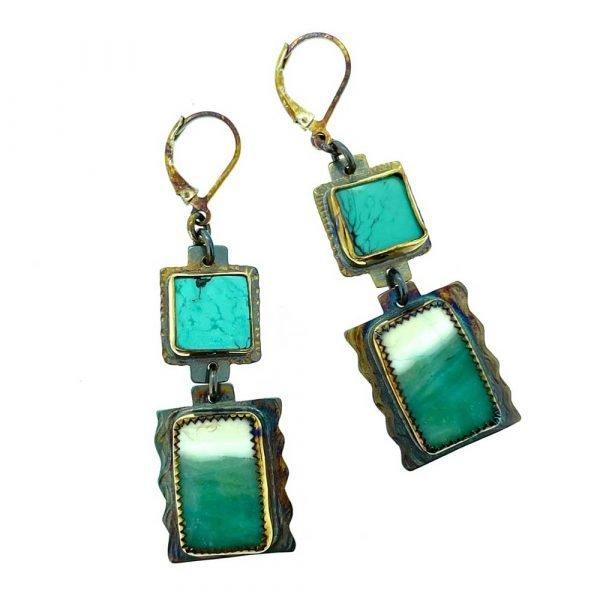Turquoise and Blue Opal Petrified Wood Earrings