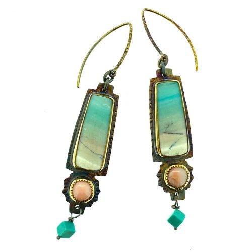 Blue Opal Petrified Wood and Angel Coral Earrings
