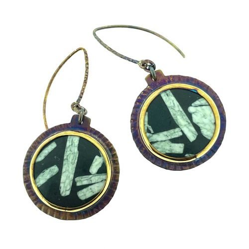 Chinese Writing Stone Earrings