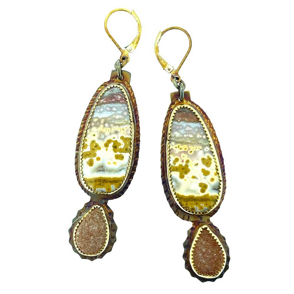 Orbicular Jasper and Natural Quartz Druzy Earrings