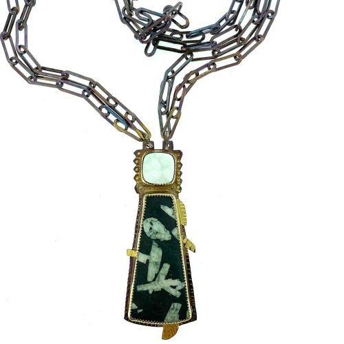 Chinese Writing Stone and Quartz Druzy Necklace