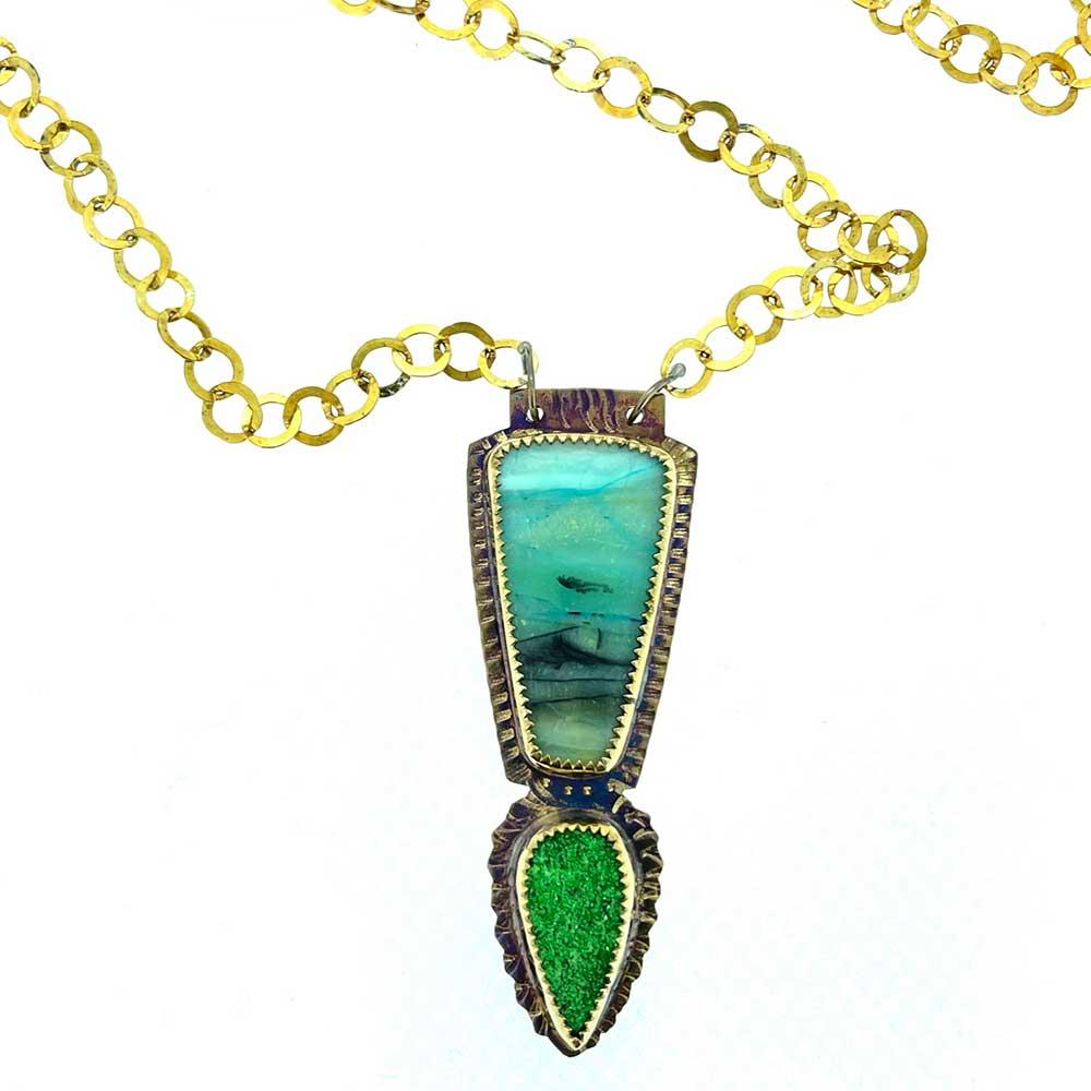 Uvarovite and Blue Opal Petrified Wood Necklace