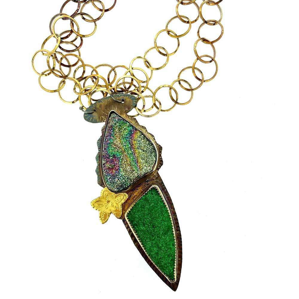 Rainbow Pyrite Druzy and Uvarovite Druzy Necklace