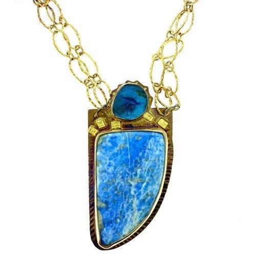 Azurite Nodule and Blue Denim Lapis Necklace