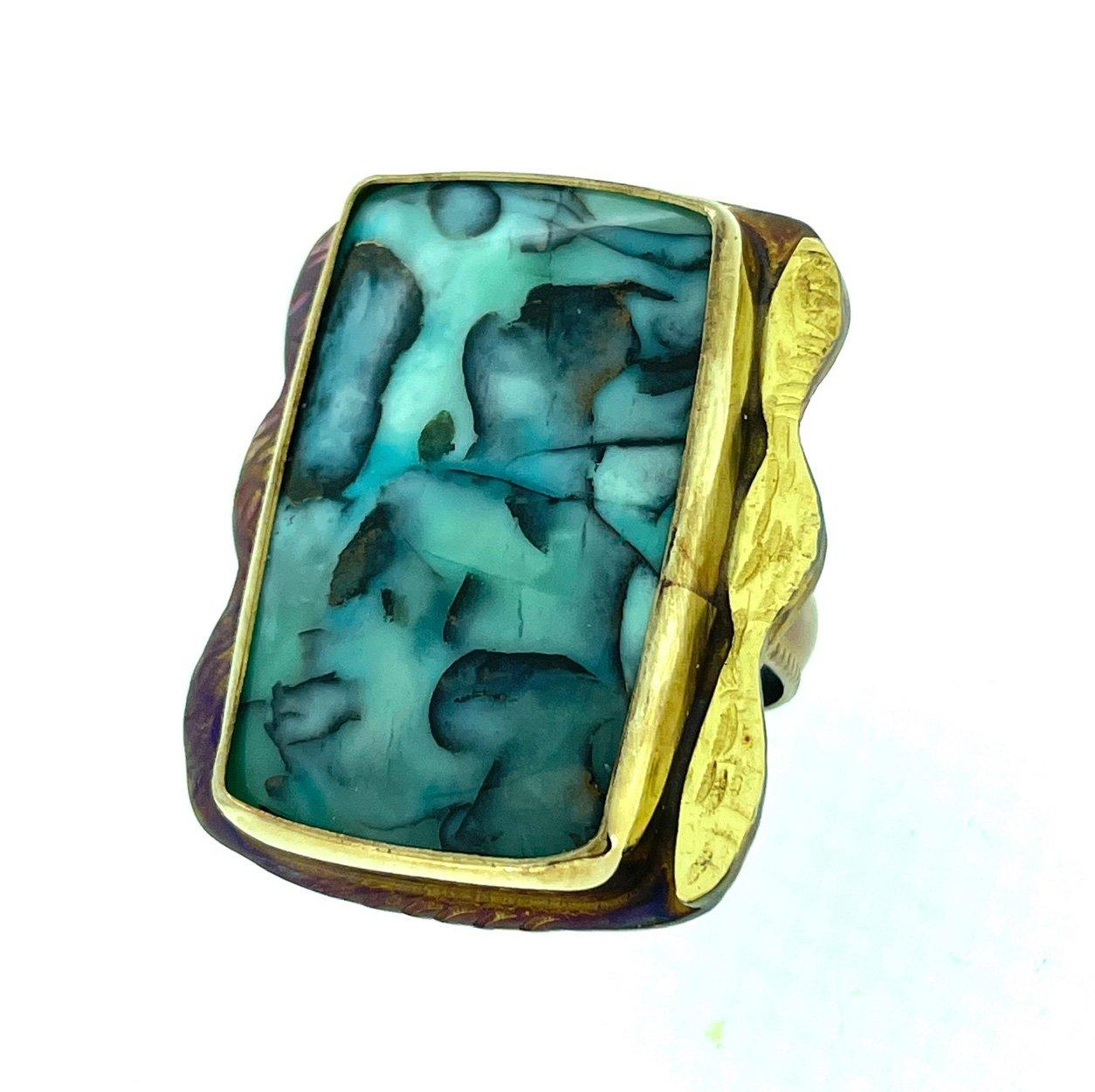 Blue Opal Petrified Wood Ring