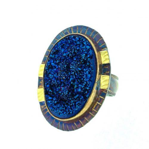 Electric Blue Druzy Ring